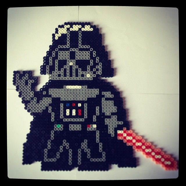 Use this pattern to create a perler bead Darth Vader. It's a great fine motor activity for a rainy day, and my kids always fe