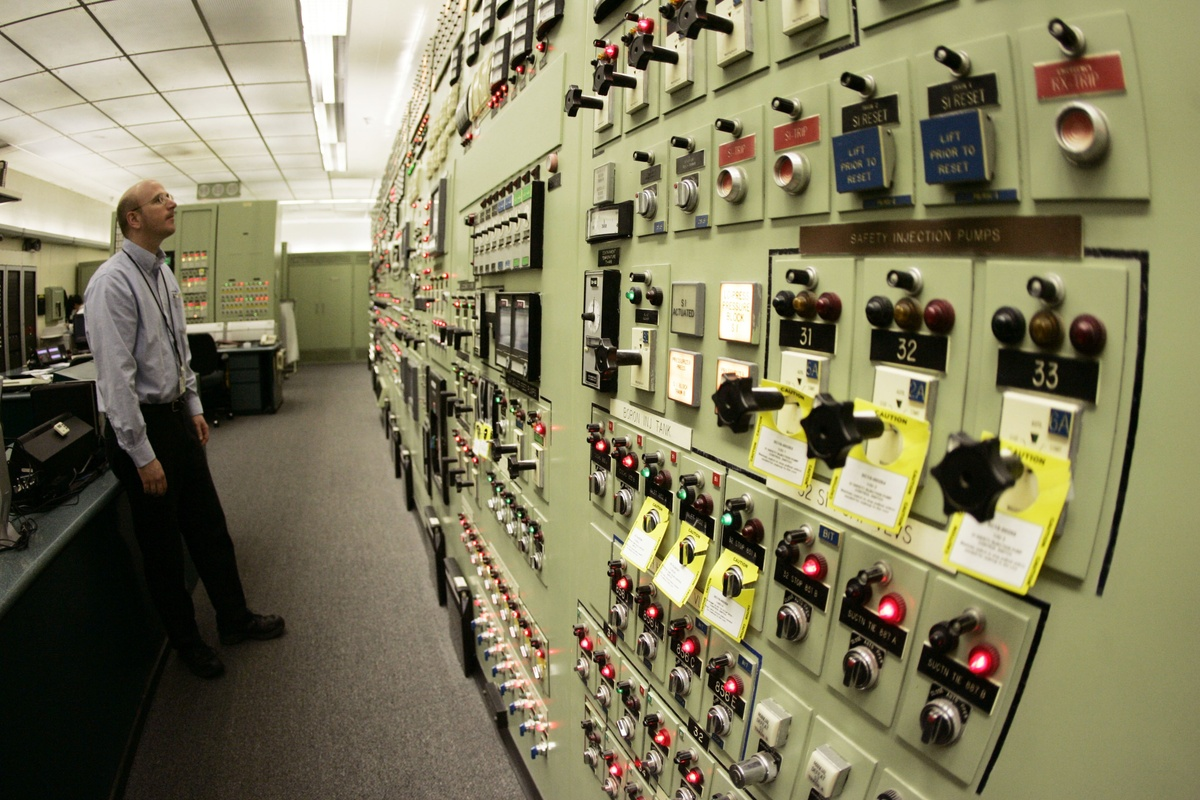 Control room agent Russell Warren monitors various readings and levels at the Indian Point nuclear power plant Friday, April