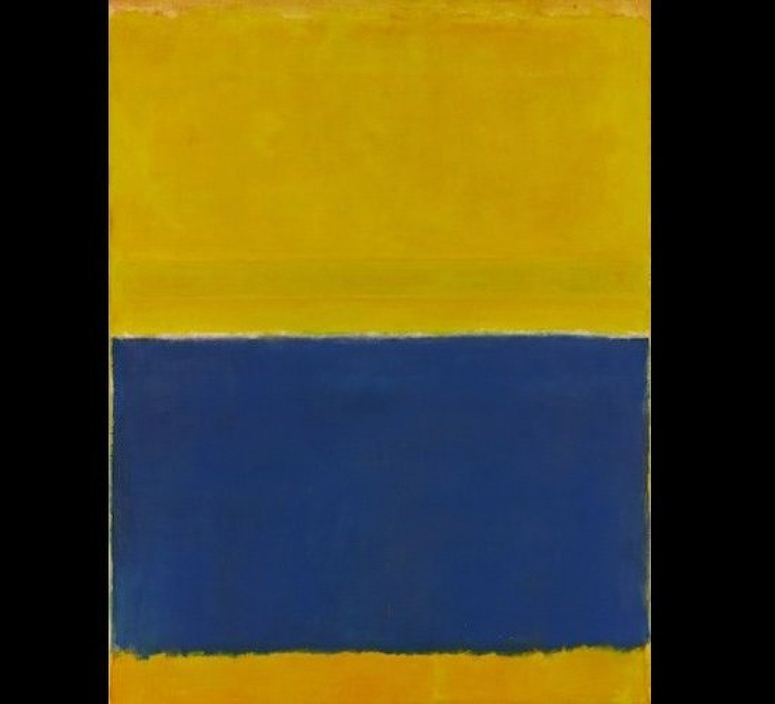 """Lot 11, Mark Rothko """"Untitled (Yellow And Blue)."""" Oil on canvas 95⅝ x 73½ in. 240.4 x 186.7 cm. Executed in 1954. Est. $40/60"""