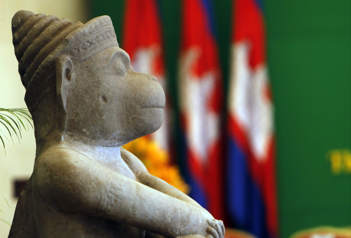 A 10th century Cambodian sandstone statue is placed inside the Council Ministry during a ceremony in Phnom Penh, Cambodia, Tu