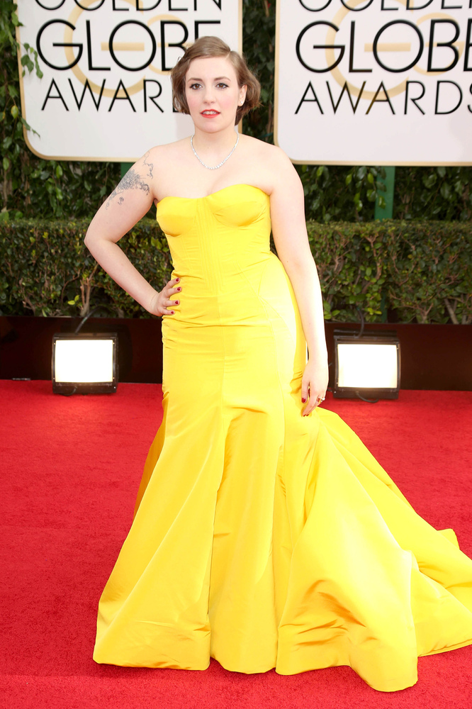 Lena looked stunning in this sunny yellow Zac Posen mermaid gown at the 2014 Golden Globe Awards