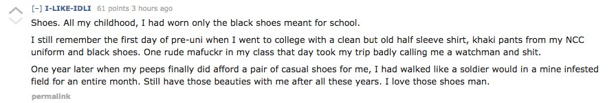 One of the Reddit users wrote a very touching account of how he only got to wear the plain black shoes which were a part of t