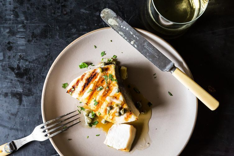 """<strong>Get the <a href=""""http://food52.com/recipes/5694-grilled-swordfish-with-lemon-and-caper-sauce"""" target=""""_blank"""">Grilled"""