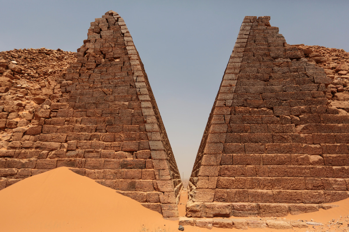 In this Thursday, April 16, 2015 photo, a view of the historic Meroe pyramids in al-Bagrawiya, 200 kilometers (125 miles) nor