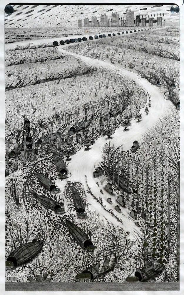 """To Us The Land - 2014, graphite, silver ink, silver leaf and silver tape on paper, 57""""x36"""""""