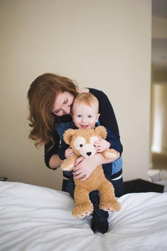 """""""Mommy, Noah, and his trusted Duff-Duff! No hour of the day is without this precious bear who keeps him company during naps,"""