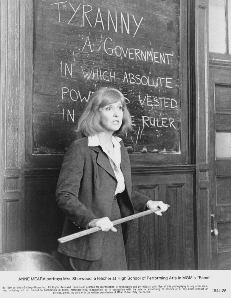 American actress Anne Meara, as English teacher Mrs Sherwood, in a scene from 'Fame', directed by Alan Parker, 1980. (Photo b