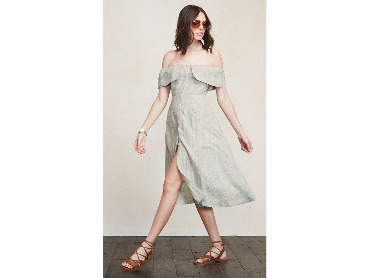 """<a href=""""https://www.thereformation.com/products/mariana-dress-jackfruit"""" target=""""_blank"""">Reformation Mariana Dress, $198</a>"""