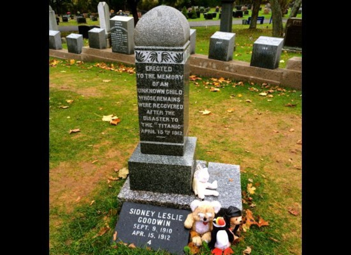 Remains of unknown child at Titanic Burial Ground in Halifax, Nova Scotia, on the way to Saint-Pierre and Miquelon.