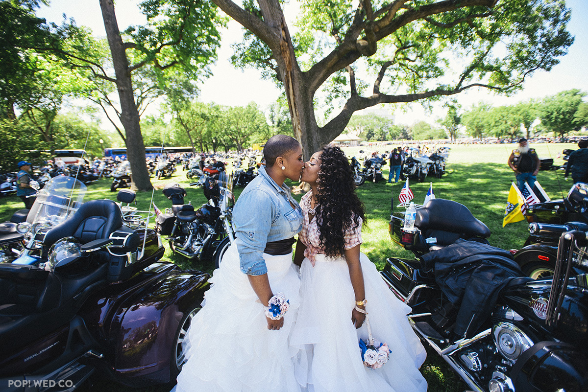 """""""LaMeisha and Ronda were married at Rolling Thunder's pre-ride festival, and it was amazing! So many people hugged them and t"""