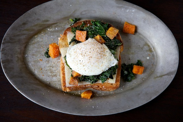 """<strong>Get the <a href=""""http://food52.com/recipes/14209-sauteed-kale-roasted-sweet-potato-and-poached-egg-holiday-toast"""" tar"""