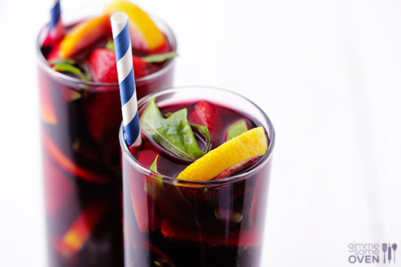 """<strong>Get the <a href=""""http://www.gimmesomeoven.com/the-best-sangria/"""" target=""""_blank"""">Arugula Sangria recipe</a> from Gimm"""