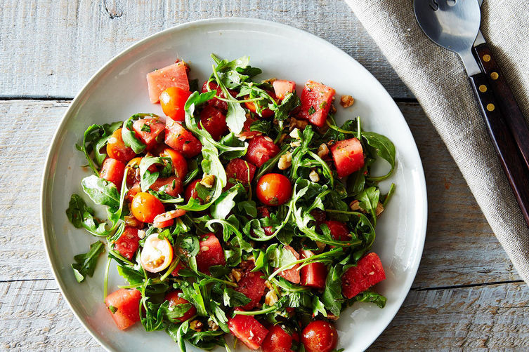 """<strong>Get the <a href=""""http://food52.com/recipes/22765-watermelon-tomato-and-four-herb-salad"""" target=""""_blank"""">Watermelon, T"""