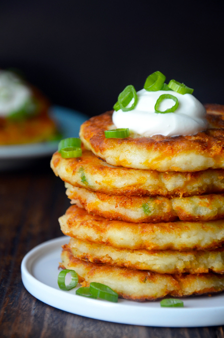 """<strong>Get this <a href=""""http://www.justataste.com/2013/11/cheesy-leftover-mashed-potato-pancakes-recipe/"""" target=""""_blank"""">C"""