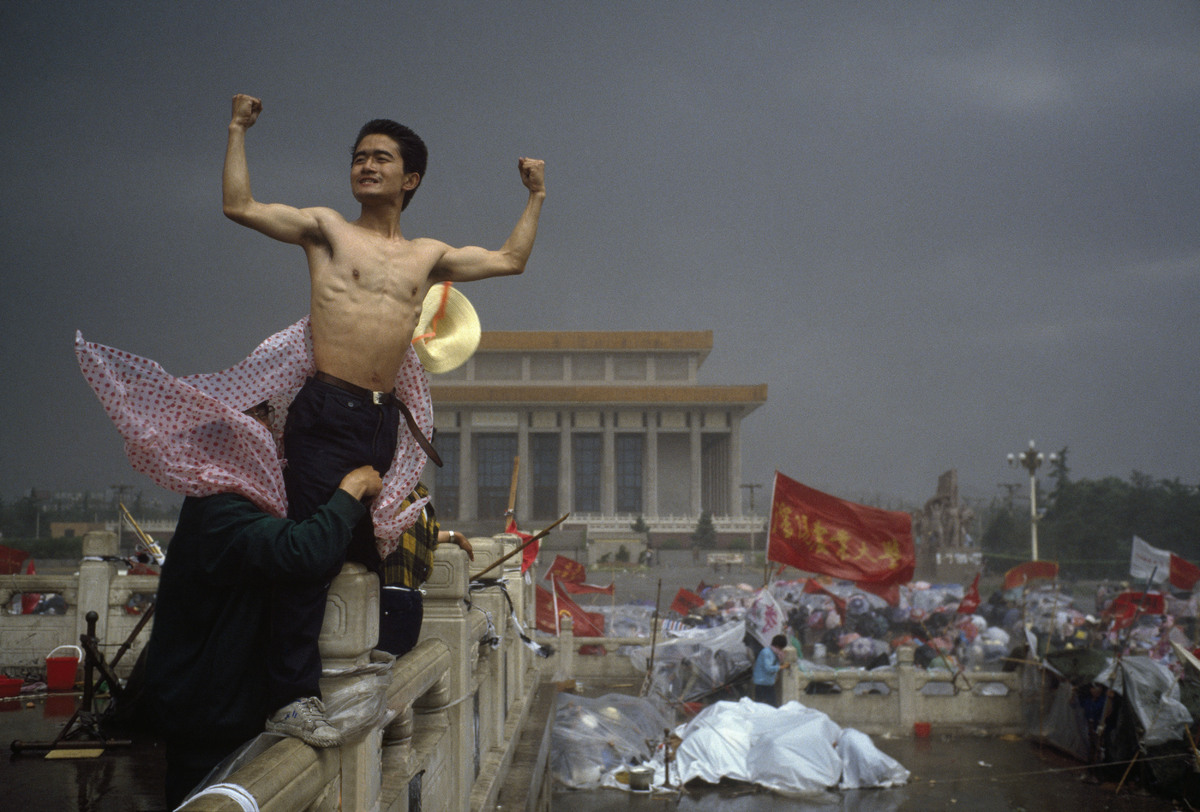 """""""This is an image that changed everything because, for me, it crystallised the spirit of revolt. The uprising in Tiananmen Sq"""