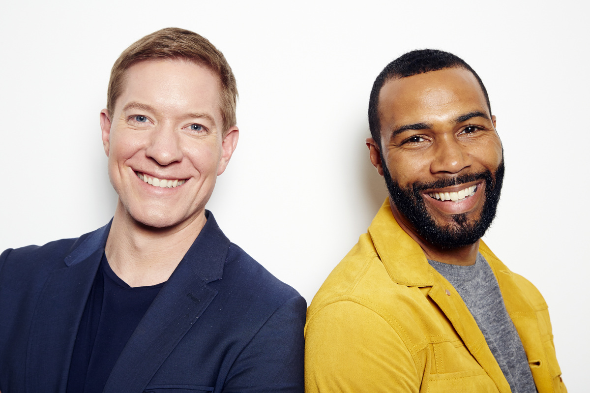 "In this May 19, 2015 photo, actors Joseph Sikora, left, and Omari Hardwick, from the Starz original series ""Power,"" pose for"