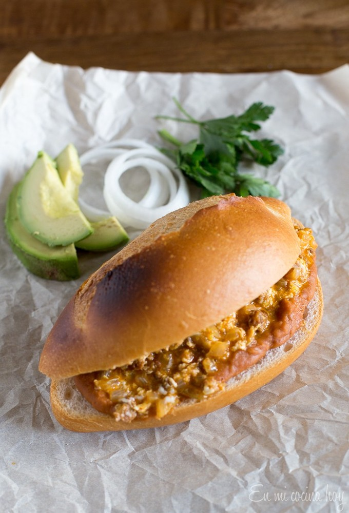 11 Mexican Torta With Eggs Chorizo And Frijoles