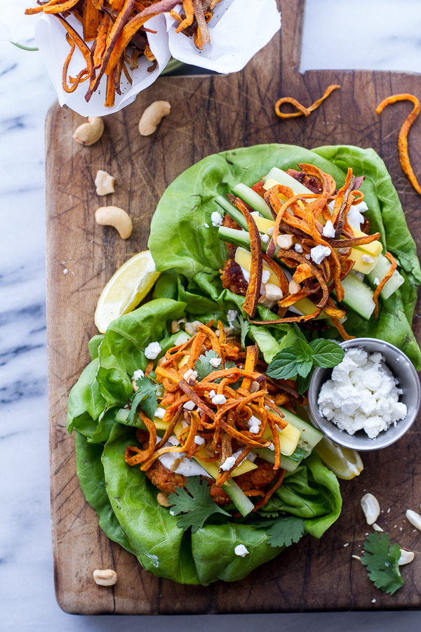 "<strong>Get the <a href=""http://www.halfbakedharvest.com/curried-salmon-burger-lettuce-wraps-wcrispy-sweet-potato-straws-goat"