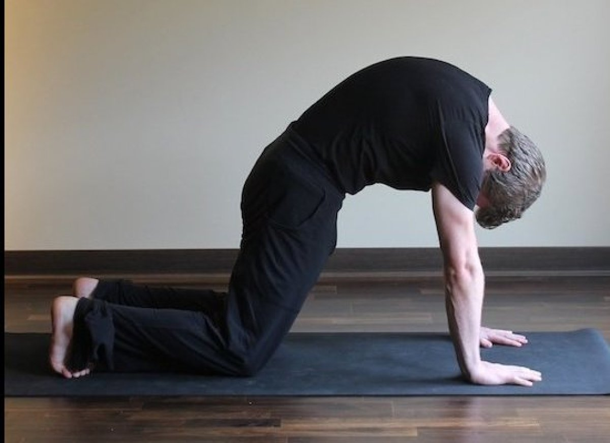 Come to a four pointed kneeling position with your shoulders stacked over your wrists.  Round your spine with your exhales, a