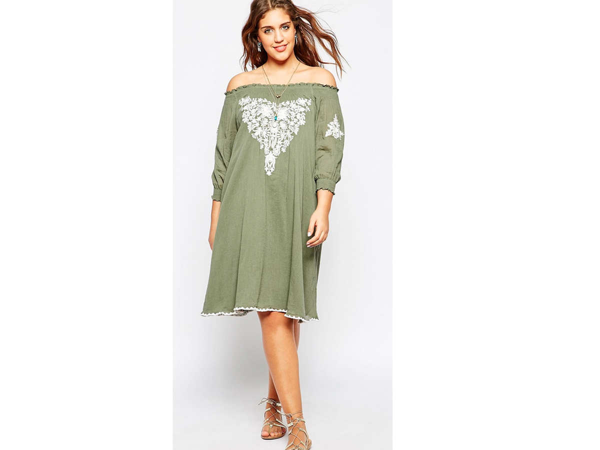 "<a href=""http://us.asos.com/ASOS-CURVE-Gypsy-Off-Shoulder-Dress-With-Embroidery/16i50i/?iid=5078900&clr=Khaki&searchterm=off+"
