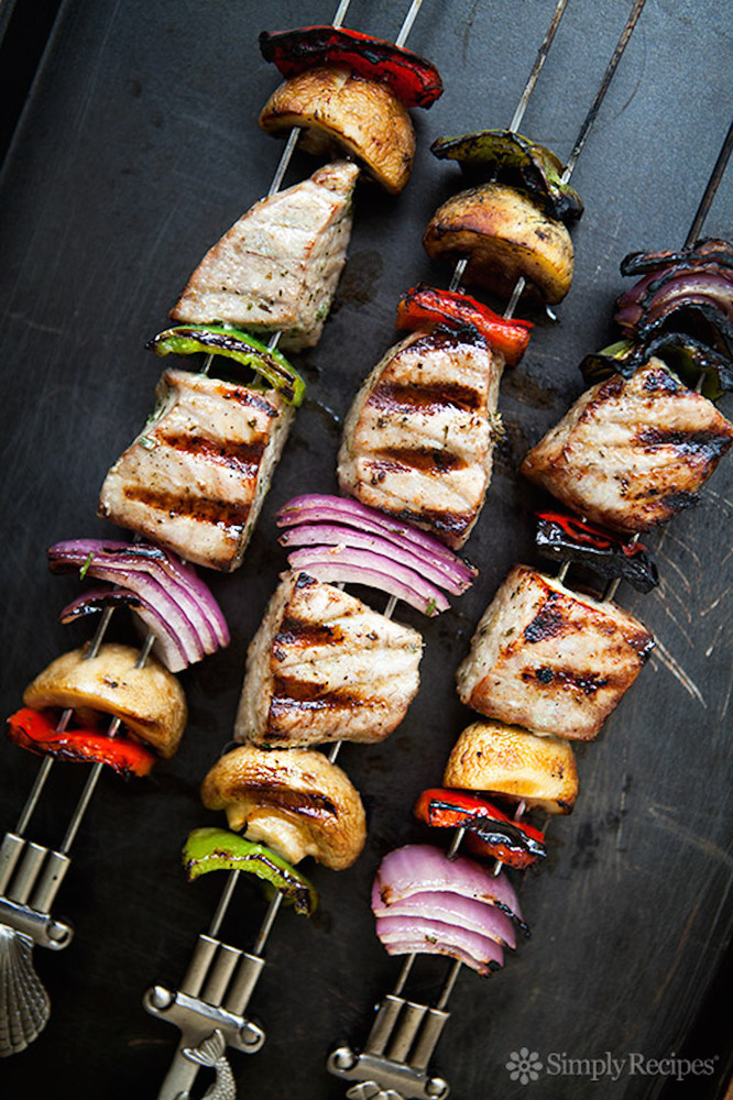 """<strong>Get the <a href=""""http://www.simplyrecipes.com/recipes/grilled_tuna_kebabs/"""" target=""""_blank"""">Grilled Tuna Kebabs recip"""