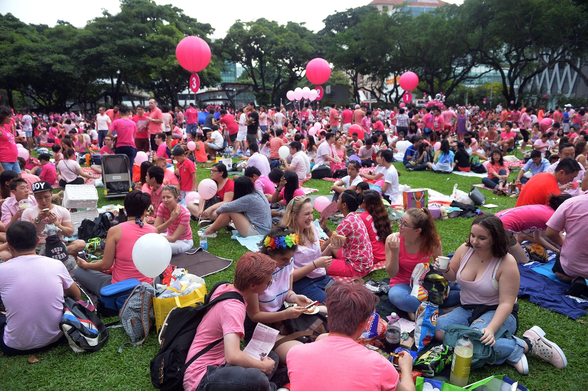 A crowd dressed in pink gathers at Hong Lim Park in Singapore to kick off the annual 'Pink Dot' event in a public show of sup