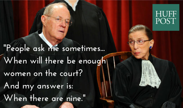 "<em>Speaking to law students in February 2015, <a href=""http://www.pbs.org/newshour/bb/will-enough-women-supreme-court-justic"