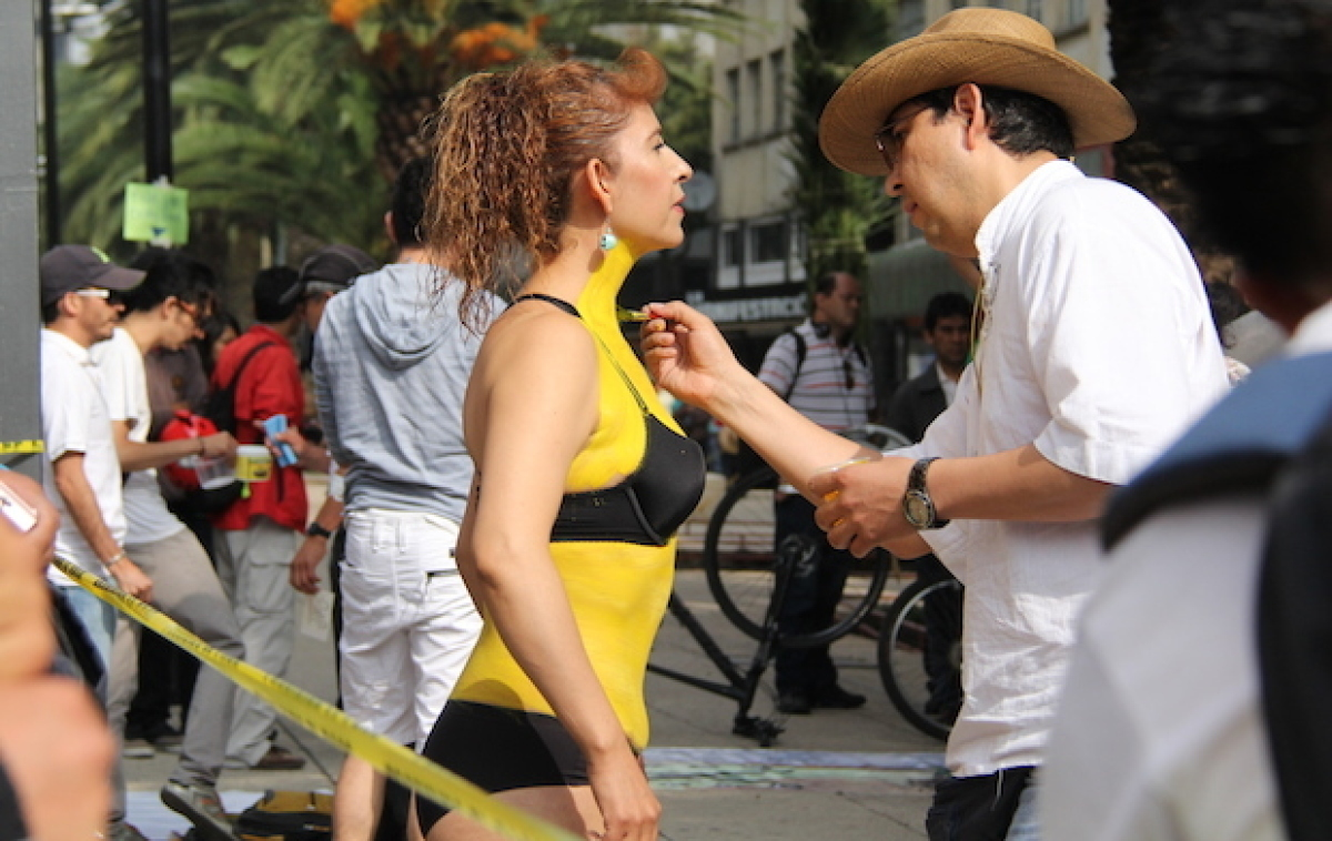 A group of artists volunteered to do body painting for participants in the World Naked Bike Ride Mexico, which took place in
