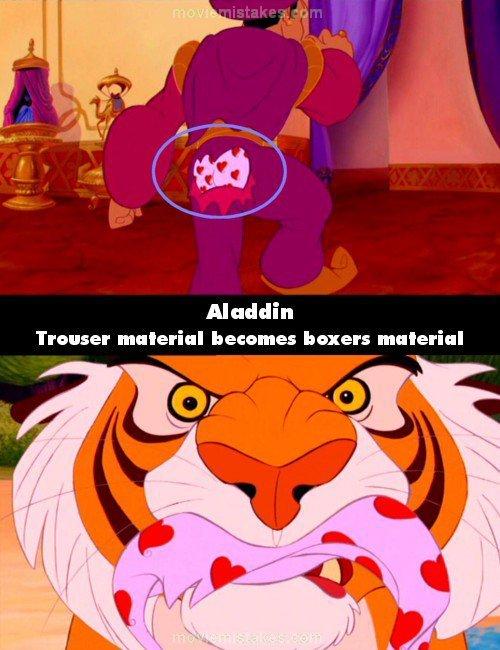 """<strong> Aladdin O tecido das calças transforma-se em tecido da cueca</strong>  Cortesia de <a href=""""http://www.moviemistakes"""