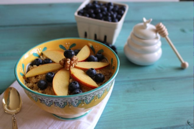 """""""Quinoa breakfast bowls are easy to assemble in your morning stupor. Prepare the potassium, calcium and fiber-packed quinoa i"""