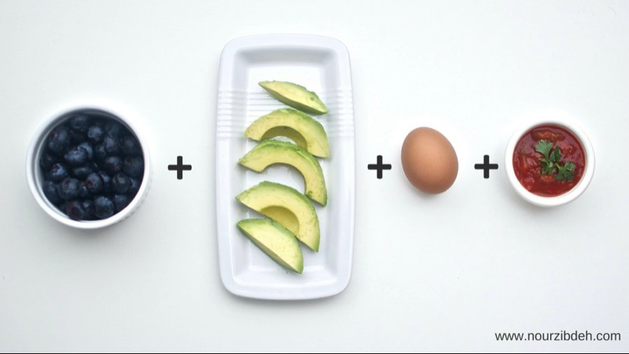 Chop up a hard-boiled egg and combine with half an avocado and two tablespoons of salsa. Eat with a fork and munch on blueber