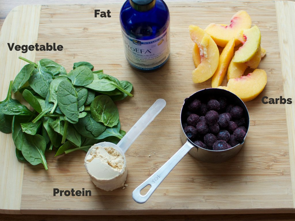 An easy way to get a cup of vegetables and healthy oils like omega-3 or coconut oil. Add a scoop of protein to balance the sm