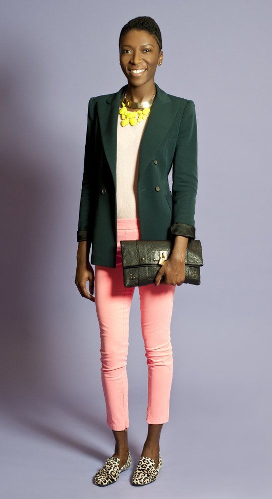 It all starts with basic colorblocking here. Layer on a dark blazer and statement necklaces, then slip on a pair of animal pr