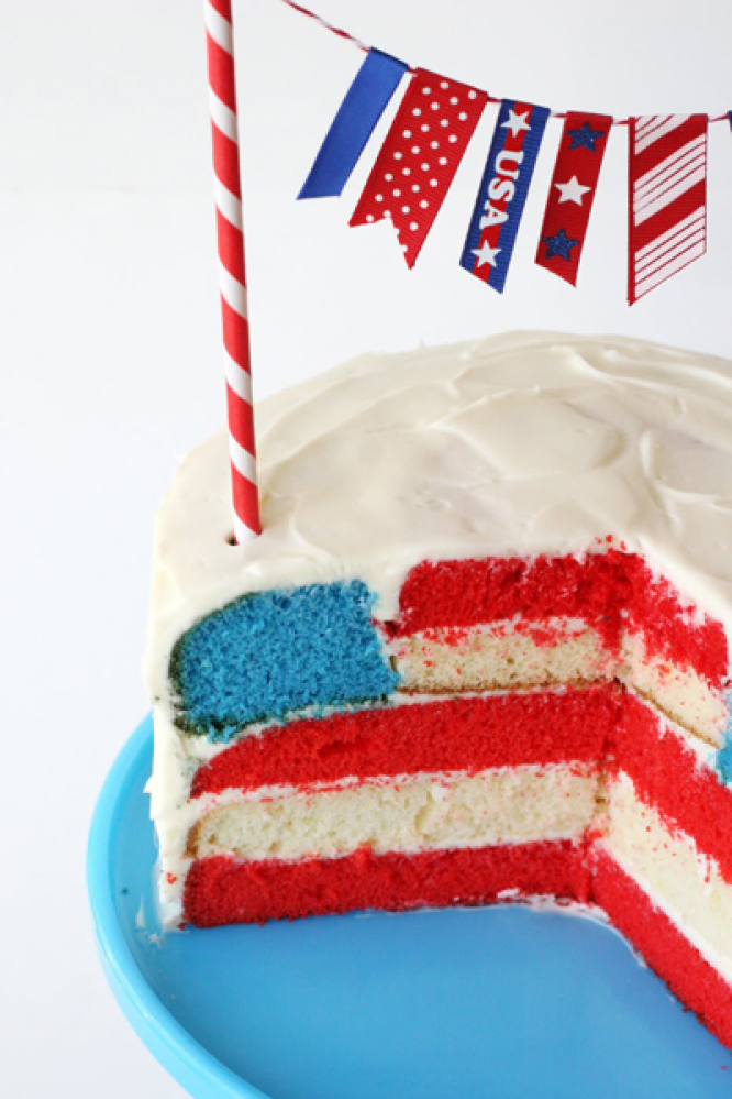 American flag cake inside recipe
