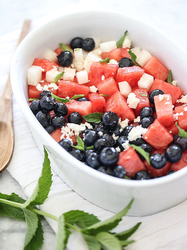 "<strong>Get the <a href=""http://www.foodiecrush.com/2013/07/red-white-and-blue-salad/"" target=""_blank"">Red, White And Blue Sa"