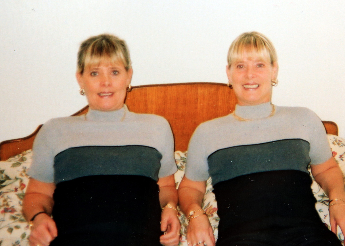 Collect pic of identical twins Rosey Coles and Kathy Heffernan taken in 2002 when they were aged 48.