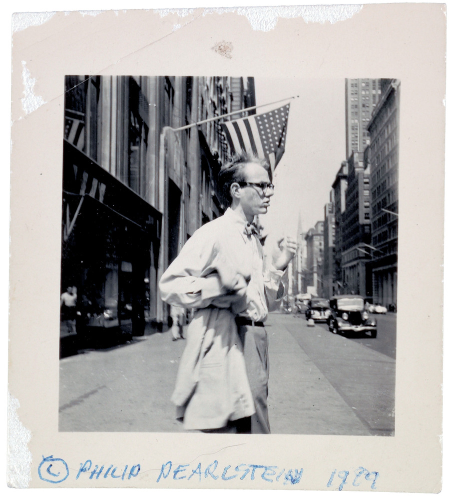 Andy Warhol in New York City, ca. 1949. Photograph by Philip Pearlstein, Philip Pearlstein papers.