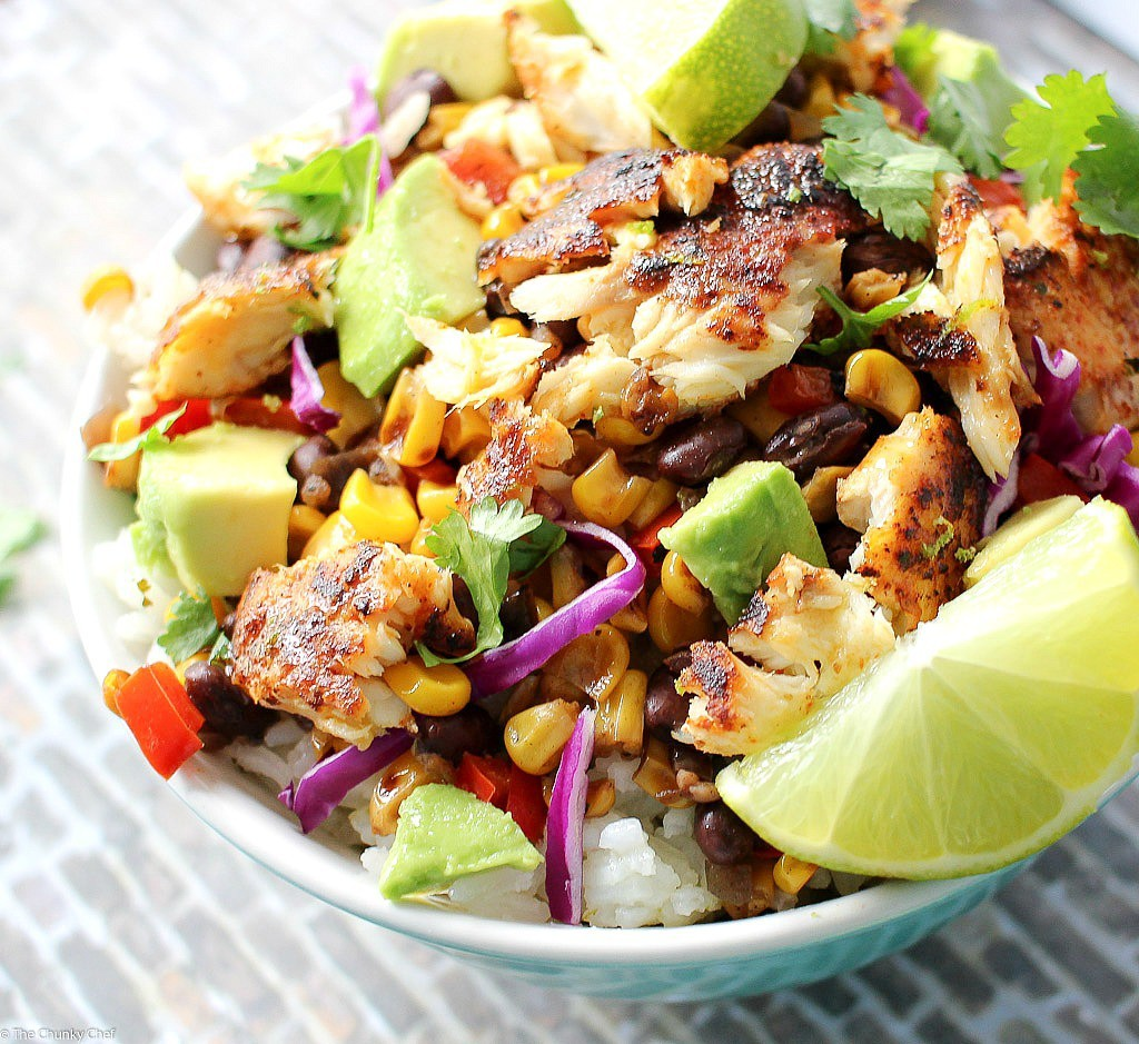 """Get the recipe from <a href=""""http://www.thechunkychef.com/blackened-tilapia-taco-bowls/"""" target=""""_blank"""">The Chunky Chef</a>."""