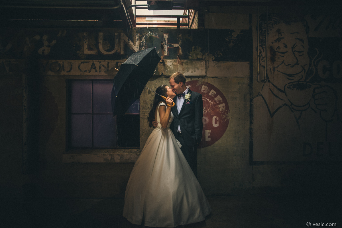 """""""Elizabeth and Kyle spend some time getting wet yesterday before their reception at Bay 7 in Durham, North Carolina."""" - photo"""