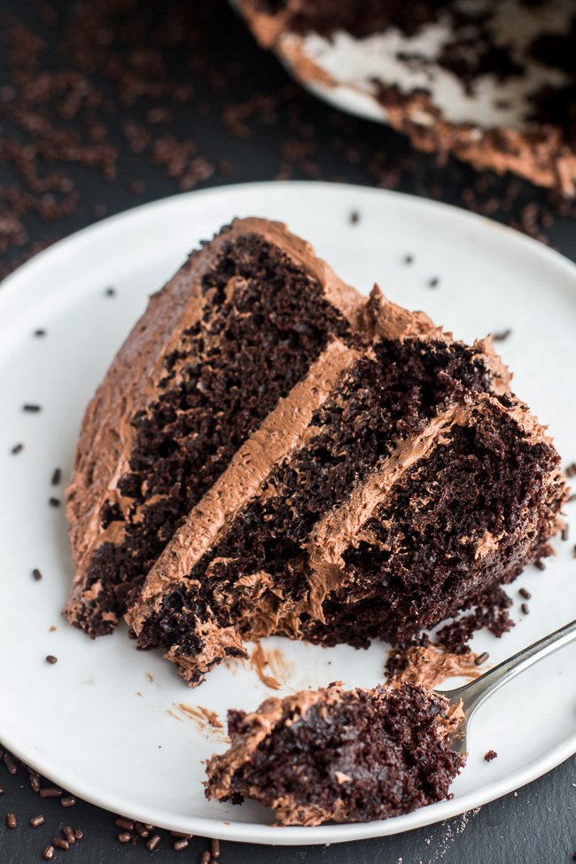 "<strong>Get the <a href=""http://www.halfbakedharvest.com/simple-chocolate-birthday-cake-whipped-chocolate-buttercream/"" targe"