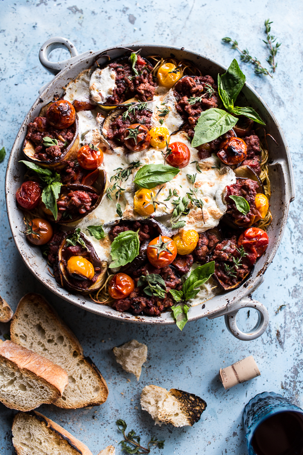 """<strong>Get the <a href=""""http://www.halfbakedharvest.com/italian-turkey-and-tomato-basil-eggplant-roll-pasta-bake/"""" target=""""_"""