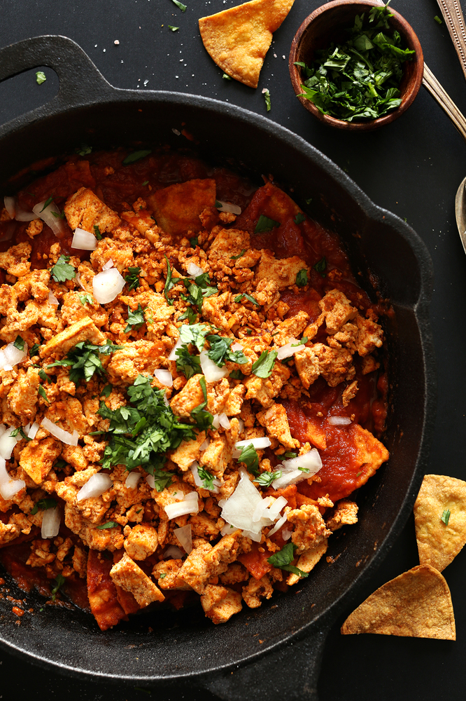 "<strong>Get the <a href=""http://minimalistbaker.com/chipotle-tofu-chilaquiles/"" target=""_blank"">Chipotle Tofu Chilaquiles rec"