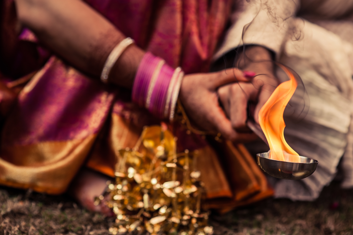 The sacred fire, or <em>agni</em>, symbolises the divine presence as a witness of the ceremony. Commitments made in the prese