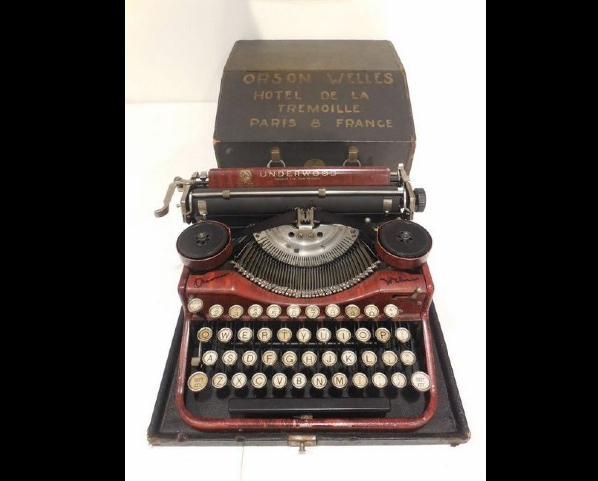 "Soboroff: ""He wrote <em>Citizen Kane</em> on this typewriter. He used to keep this on his tummy when he wrote. Check it out:"