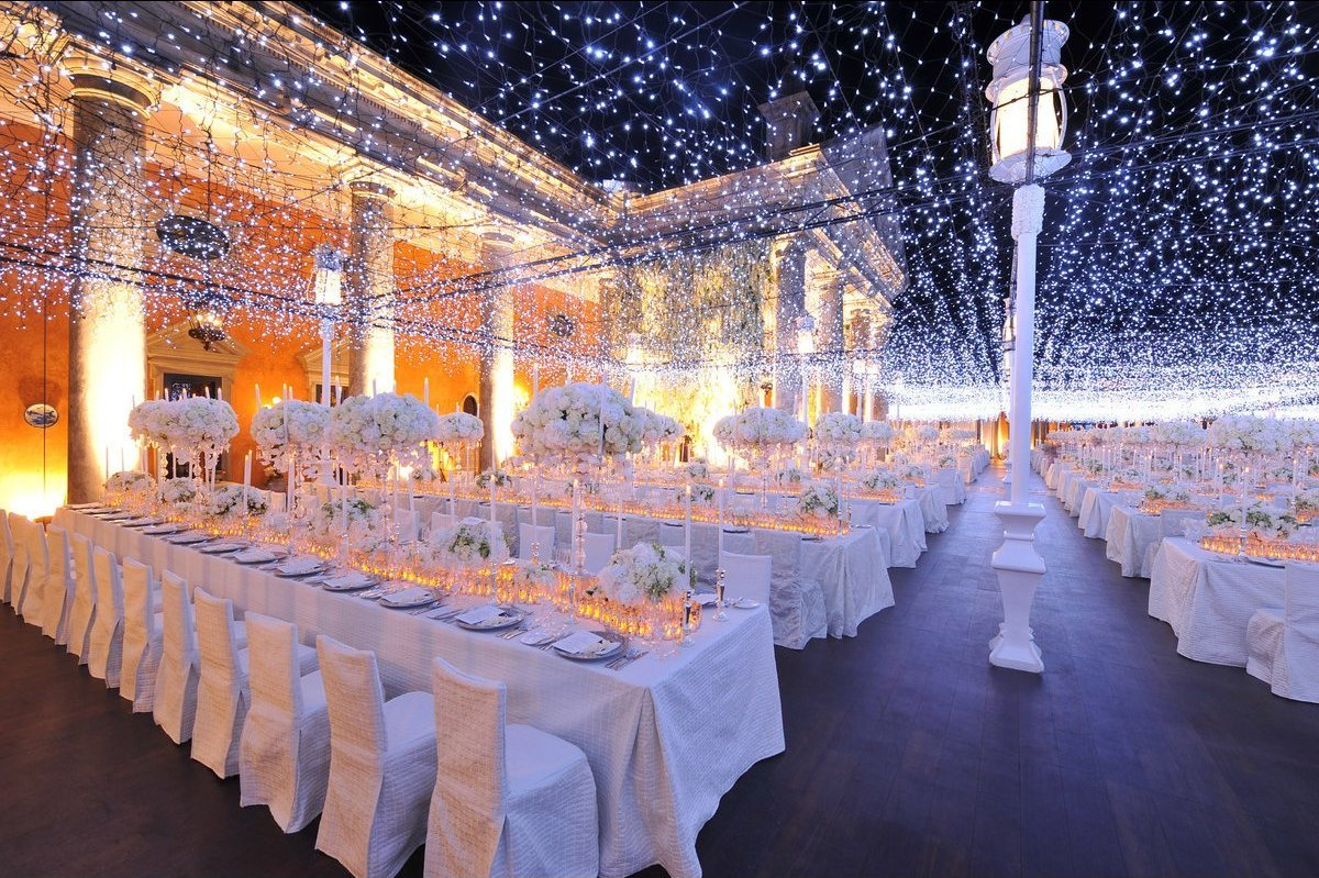 24 weddings that really brought the wow factor with lighting huffpost create a ceiling of twinkling lights to reflect the night sky during an outdoor junglespirit Gallery