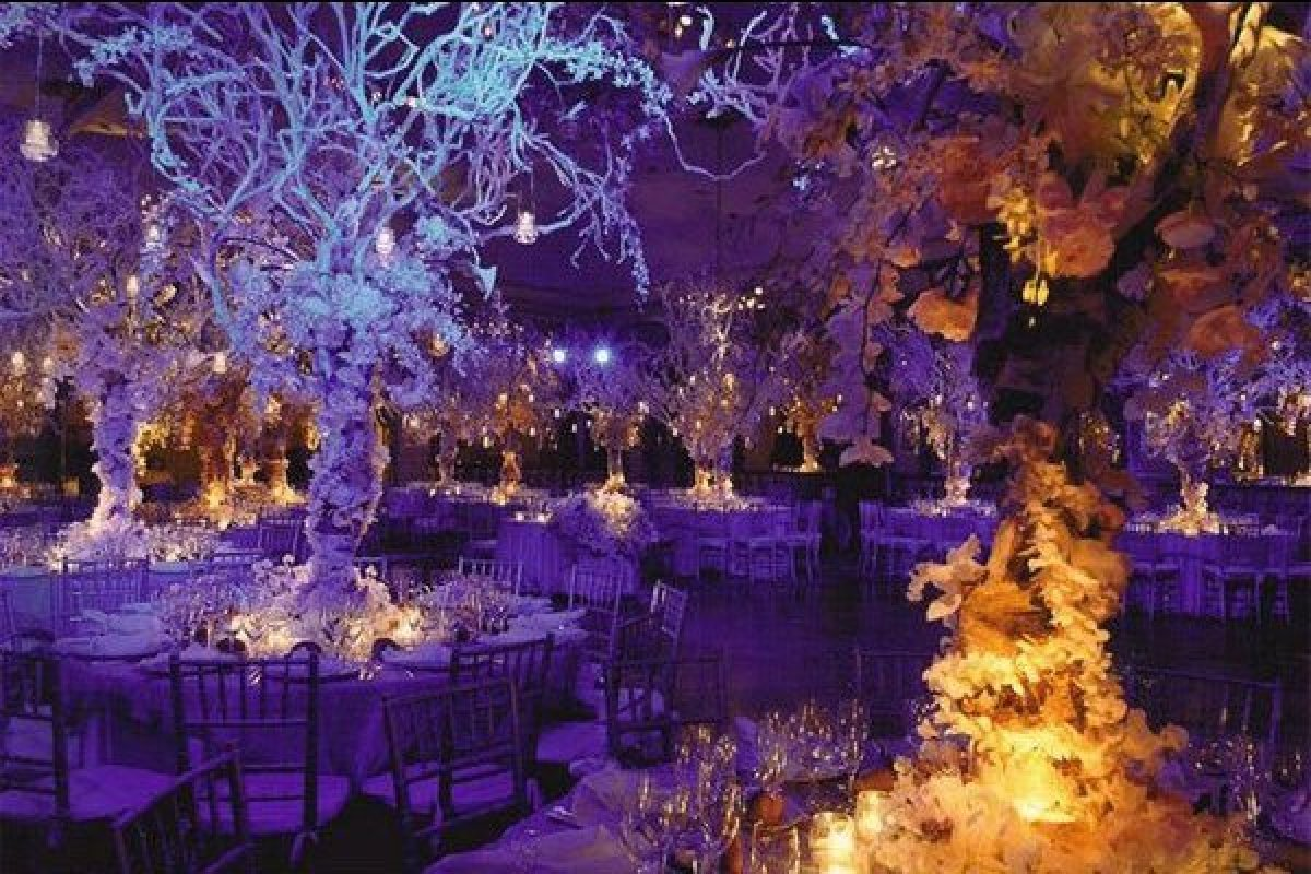 24 weddings that really brought the wow factor with lighting huffpost the dramatic centerpieces combined with the purple uplighting transform this reception space into a winter wonderland dreammakers weddings events junglespirit Image collections