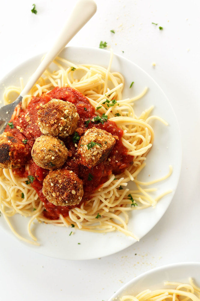 "<strong>Get the <a href=""http://minimalistbaker.com/simple-vegan-meatballs/"" target=""_blank"">Simple Vegan Meatballs recipe</a"