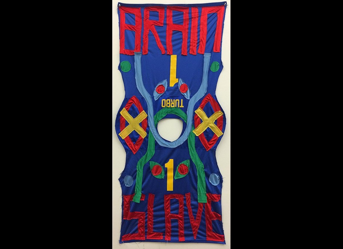 BRAINSLAVE (2015) fabric (sourced from sports jerseys)  69 x 149 (cm)