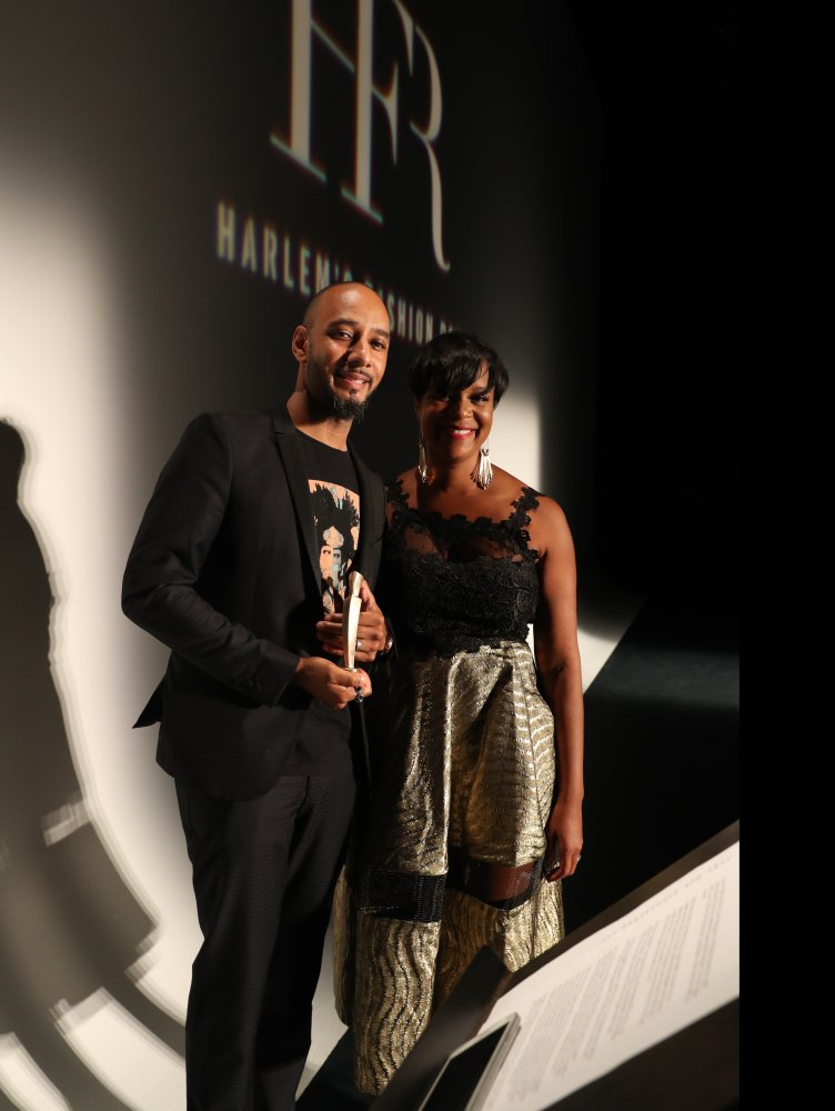 Harlem's Fashion Row's CEO, Brandice Henderson and Icon 360 Award recipient, Swizz Beatz. Photo by Johnny Nunez