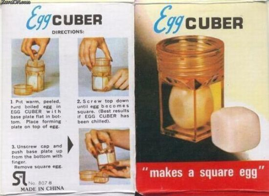 """Gotta love the straight-forward approach with this one: """"Makes a square egg."""" (<a href=""""http://kuvaton.com"""">source</a>)"""